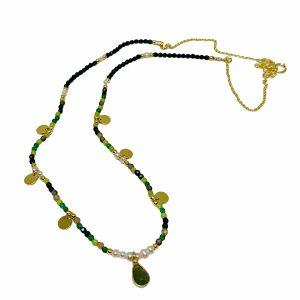 Colgante de plata, jade y perlas Alina